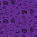 Halloween ghost bat pumpkin seamless pattern backg background purple vector Royalty Free Stock Photos