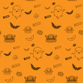 Halloween ghost bat pumpkin seamless pattern backg background vector Stock Photo