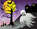 Halloween Ghost Bats Castle Graves at Night Royalty Free Stock Photos