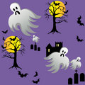 Halloween Ghost Bats Castle Graves at Night Royalty Free Stock Photo
