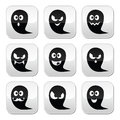 Halloween ghost buttons set - scary, friendly, happy