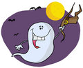 Halloween ghost holding his hat and flying by bats Royalty Free Stock Photo