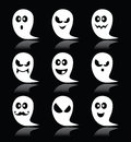 Halloween ghost  icons set on black background Royalty Free Stock Photo