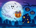 Halloween ghost near haunted house 3 Royalty Free Stock Photo