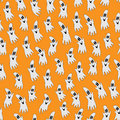 Halloween ghost on orange background vector seamless pattern of Stock Photography