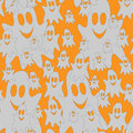 Halloween ghost on orange background vector seamless pattern of Royalty Free Stock Photo