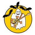 Halloween Ghost Playing Guitar Royalty Free Stock Image