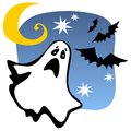 Halloween ghost silhouette with moon and bats Royalty Free Stock Photography