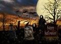 Halloween ghosts cemetery bats two friendly ghouls interacting with a crow in a scary filled with glowing eyes and creepy Royalty Free Stock Photos