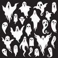Halloween ghosts. Ghostly monster with Boo scary face. Spooky ghost flat vector icon set