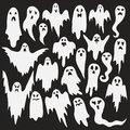 Halloween ghosts. Ghostly monster with Boo scary face shape. Spooky ghost white fly fun cute evil horror silhouette for scary Royalty Free Stock Photo