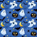 Halloween ghosts seamless a pattern with black pumpkins and bats on blue background useful also as design element for texture Stock Photos