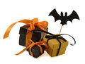 Halloween gifts with bat decoration three gift boxes figure Stock Photo