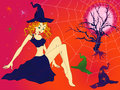 Halloween girl in sinister moonlight night elegant with green eyes among cobwebs and spiders hand drawing vector illustration Stock Photography