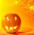 Halloween glowing pumpkin Stock Photography