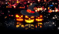 Halloween Glowing Pumpkins Night City Bokeh Background 3D Royalty Free Stock Photo