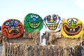 Halloween goblins hollowween painted on the ends of circular hay bales taken in october of taken on a farm in the mid willamette Stock Image