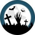 Halloween Graveyard with Living Dead Awakening Royalty Free Stock Photo