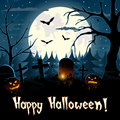 Halloween greeting background card with a spooky graveyard full moon bats and pumpkin lanterns Stock Photography