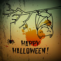 Halloween greeting card cute bat and spider Royalty Free Stock Image