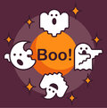 Halloween greeting card with ghosts
