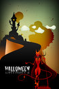 Halloween greeting card haunted castle devil Royalty Free Stock Photo