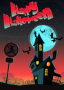 Halloween greeting card with haunted house, vector illustration Royalty Free Stock Photo