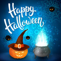 Halloween greeting card with witch cauldron, hat, pumpkin, angry spiders, net and brush lettering on blue background