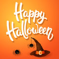 Halloween greeting card with witch hat, angry spiders and 3d brush lettering on orange background. Decoration for poster