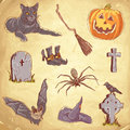 Halloween handdrawn vintage collection Stock Image