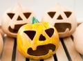 Halloween handmade candlestick: pumpkin face Stock Photo
