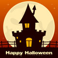 Halloween Haunted House with Full Moon Royalty Free Stock Photo