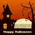 Halloween Haunted House with Tree Royalty Free Stock Photo