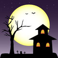 Halloween haunted house tree vector Royalty Free Stock Photography