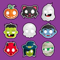 Halloween head stickers vector set of cartoon Stock Image