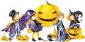 Halloween holiday banner, little girl witch, skeleton boy, black cat, vampire boy, and Halloween pumpkin.