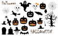 Halloween holiday symbols set isolated on the white Royalty Free Stock Photo