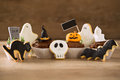 Halloween homemade gingerbread cookies and cupcakes Royalty Free Stock Photo