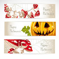 Halloween horizontal banner. With Jack and amanita Royalty Free Stock Photo