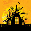 Halloween house background vector illustration Royalty Free Stock Photography