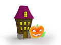 Halloween house and glass pumpkin on white background Royalty Free Stock Image