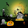 Halloween house party full moon illustration Royalty Free Stock Photo