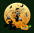 Halloween house party full moon illustration Stock Photography