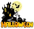 Halloween house with sign 1 Royalty Free Stock Photo