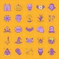 Halloween icon set. Colorful Halloween icons on an orange background. Thin line art design, Vector flat illustration Royalty Free Stock Photo