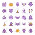 Halloween icon set, Colorful Halloween icons. Thin line art design, Vector flat illustration Royalty Free Stock Photo