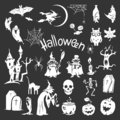 Halloween icon set, simple style