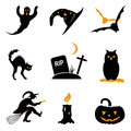 Halloween icon vector set black and orange Stock Photography