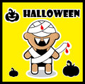 Halloween icon Zombie Mummy card poster background  Cute Hallowe Stock Photography