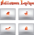 Halloween icons with creative laptops Stock Photos